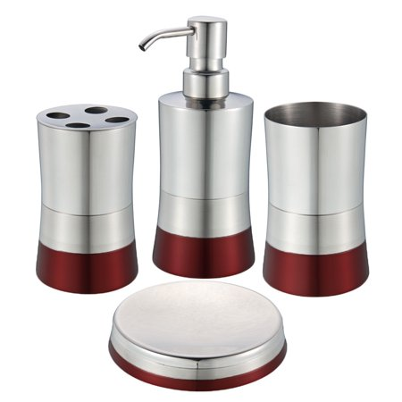 Ruby Red Stainless Steel Bath Set Soap Dispenser Toothbrush Holder Dish