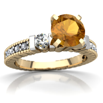Citrine Milgrain Art Deco Ring in 14K Yellow Gold by