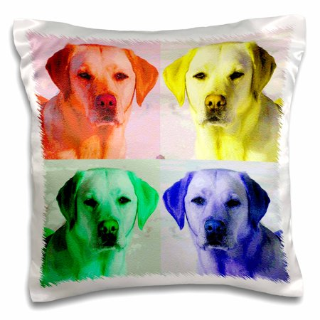 3dRose Labrador Retriever, dog, puppy, animal, pet, pop art - Pillow Case, 16 by 16-inch