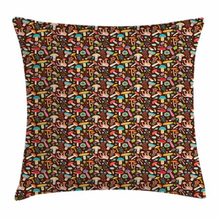 Nature Throw Pillow Cushion Cover, Dark Toned Background with an Assortment of Fungi Flowers and Foliage Leaves Pattern, Decorative Square Accent Pillow Case, 18 X 18 Inches, Multicolor, by