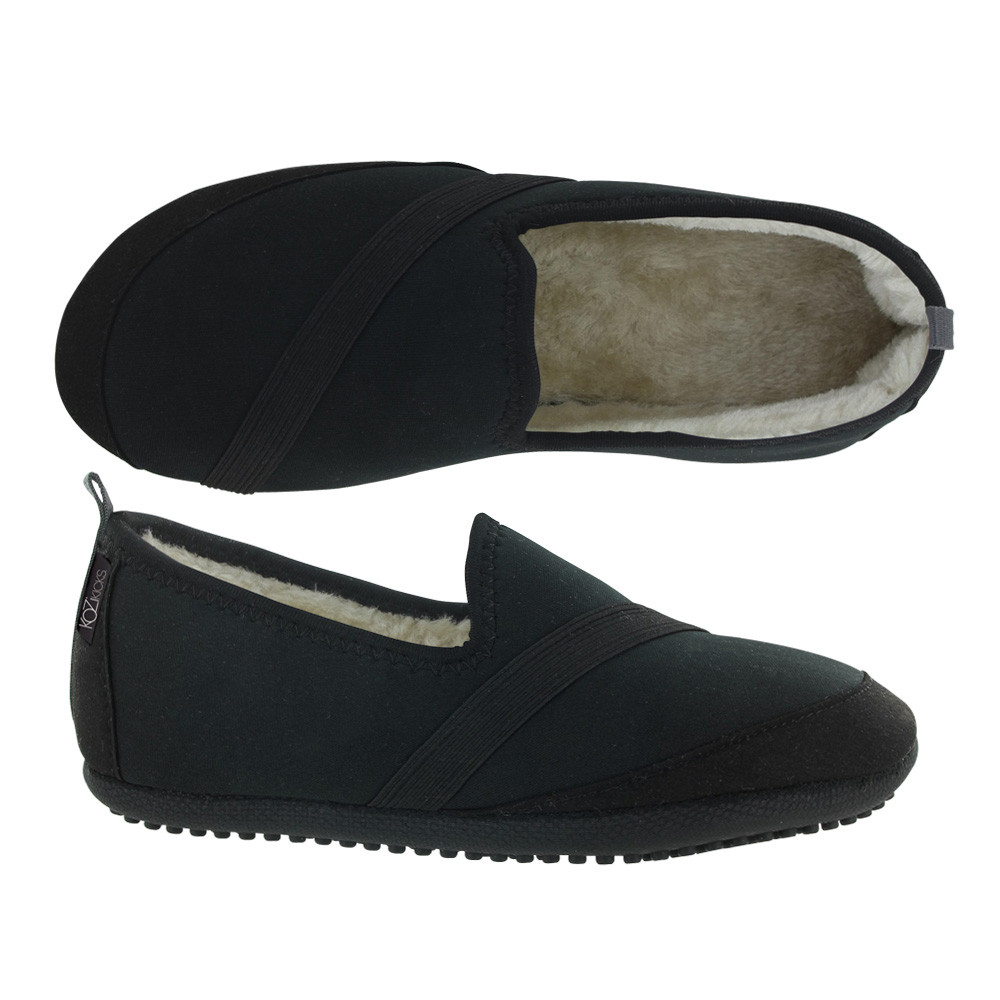 KoziKicks Active No-Slip Slippers with Rubber Sole & Fur Lining for Women