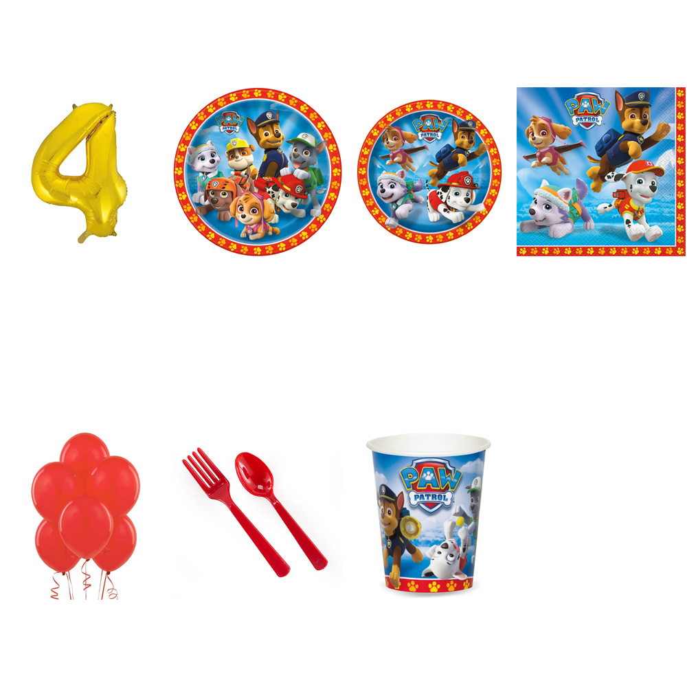PAW PATROL PARTY SUPPLIES PARTY PACK FOR 32 WITH GOLD #4 BALLOON
