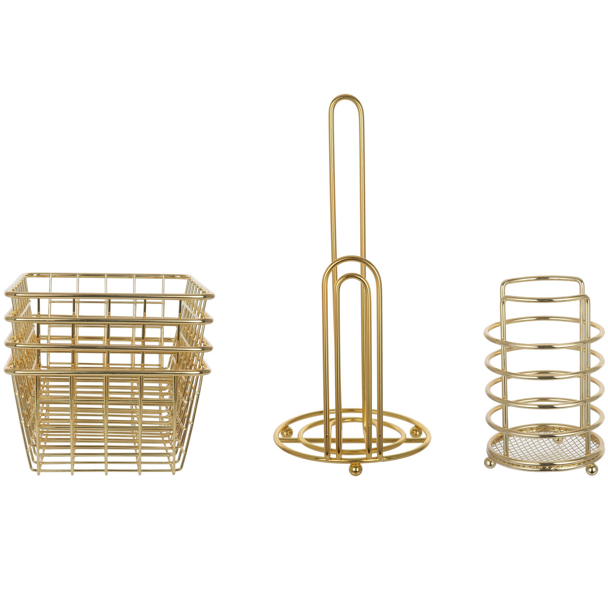 Mainstays Wire Kitchen Storage Bundle, Gold