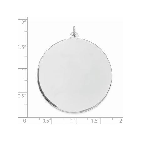 925 Sterling Silver Engraveable Round Polished Front/Satin Back Disc (38x42mm) Pendant / Charm - image 1 de 2