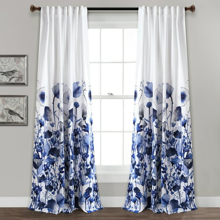 Zuri Flora Room Darkening Window Curtain Panels Navy 52x84 Set