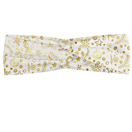 Christmas Headband, New Year's Eve Xmas Celebration Doodle Style Swirls Stars and Snowflakes, Elastic and Soft Women's Bandana for Sports and Everyday Use, Grey Red Coconut, by Ambesonne ()