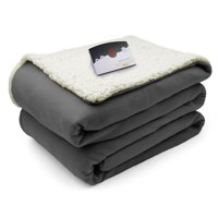 Biddeford Blankets Comfort Knit Natural Sherpa Electric Heated Blanket, Multiple Sizes & Colors Available