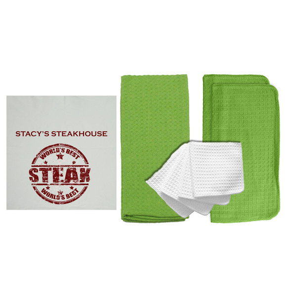 "Personalized ""Steakhouse"" 8 Piece Dish Towel Set"