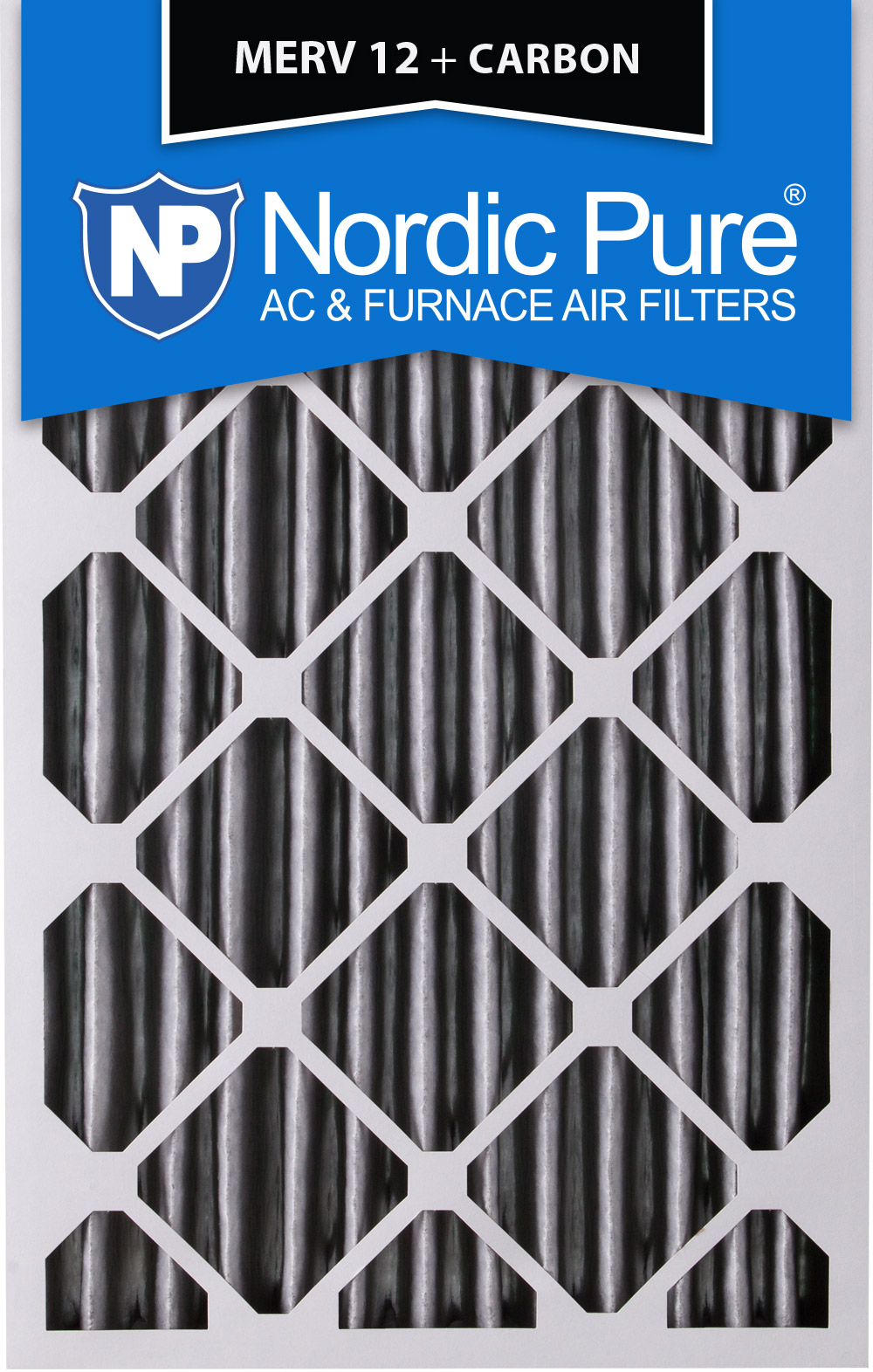 Nordic Pure 20x22x1 MERV 8 Pure Carbon Pleated Odor Reduction AC Furnace Air Filters 3 Pack