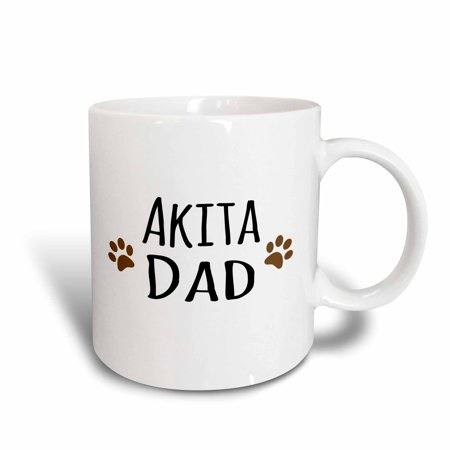 3dRose Akita Dog Dad with muddy brown paw prints - doggie by breed - doggy love lovers, Ceramic Mug, 11-ounce