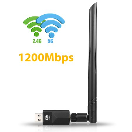 USB WiFi Adapter 1200Mbps, TSV  Wireless Adapter USB3.0 Dual Band 11ac(2.4GHz/300Mbps 5GHz/867Mbps) Network LAN Card Dongle for PC Desktop Laptop, Supports Windows, Mac and