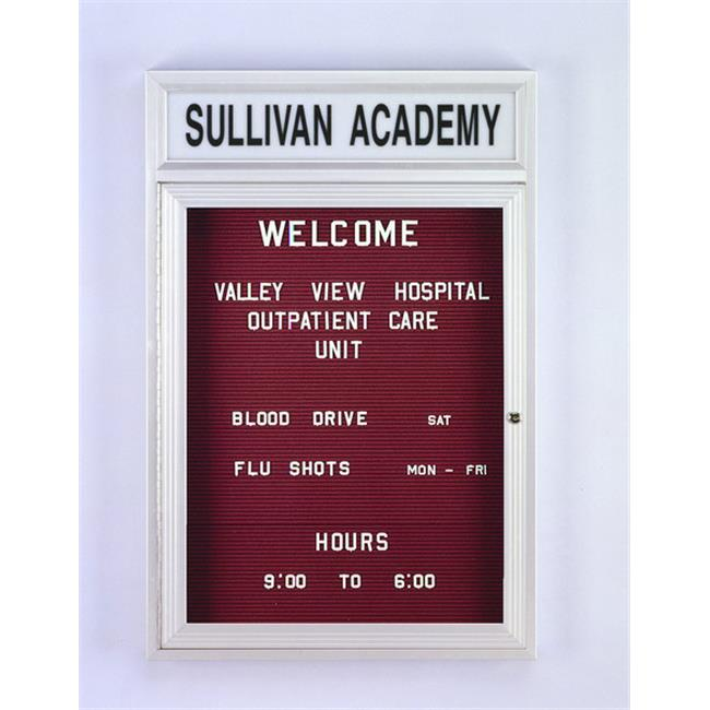 Ghent PABL8-BG 36 in. x 72 in. 3-Door Satin Alum Frame with Illuminated Headliner Enclosed Burgundy Changeable Letterboard
