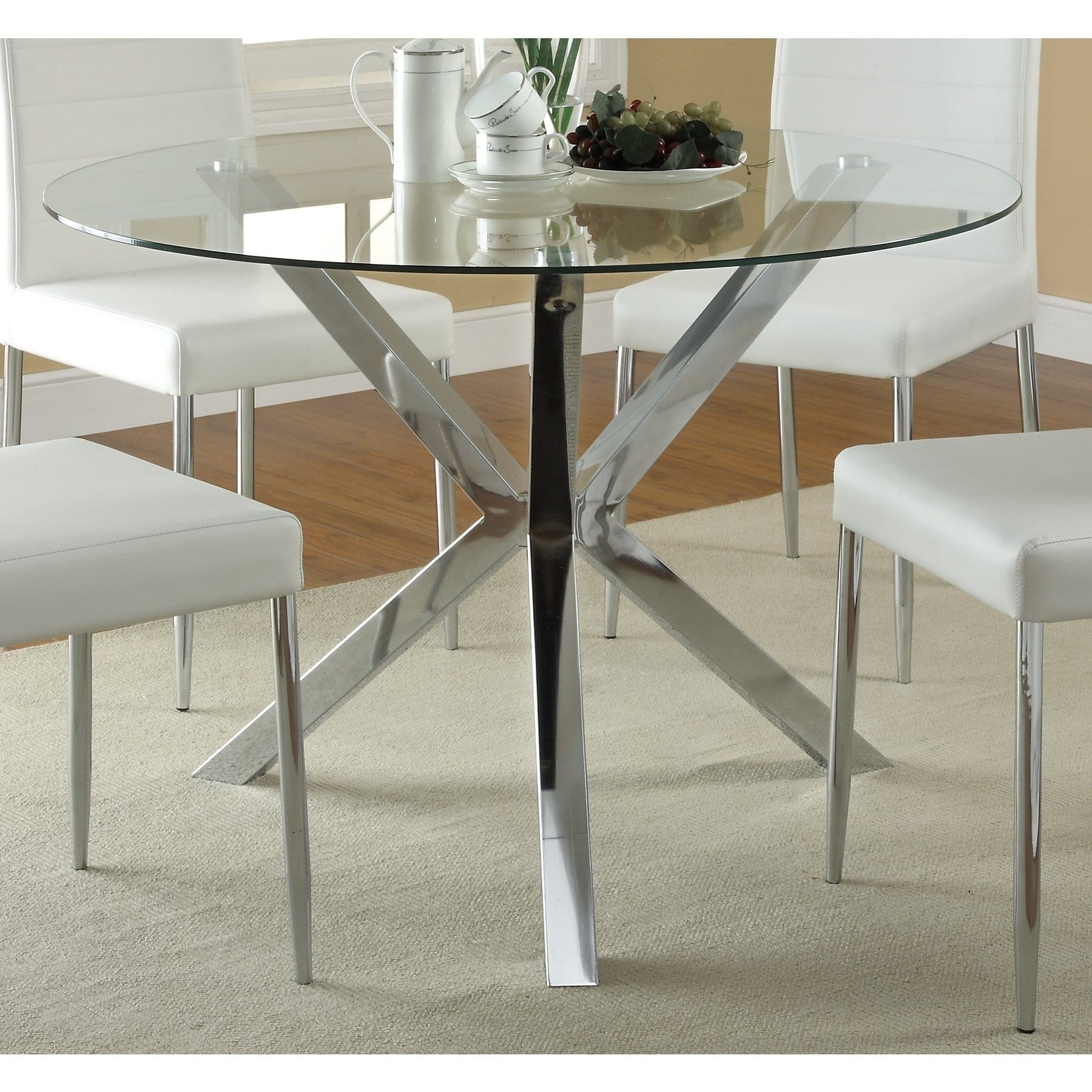 Coaster Vance Contemporary Gl Top Round Dining Table In Chrome