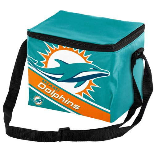 NFL Forever Collectibles Big Logo Stripe 6 Pack Cooler, Miami Dolphins