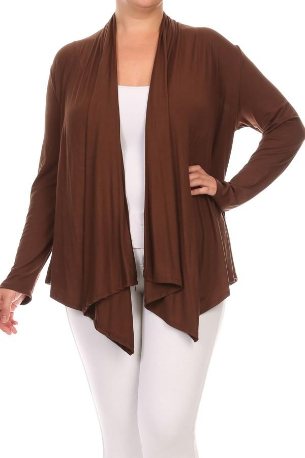 Women's PLUS trendy style , long sleeves solid cardigan.