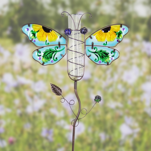 Exhart Butterfly Rain Gauge Garden Stake Hand Painted in Blue, Made of Glass and Metal