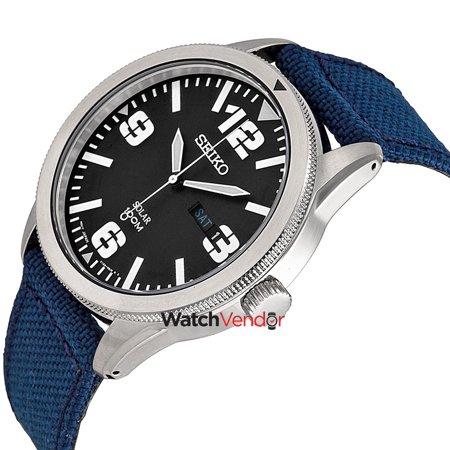 Seiko Solar Black Dial Beige Nylon Men's Watch SNE331 - image 1 de 2