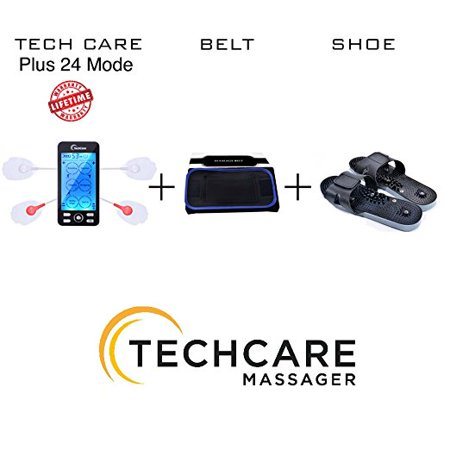 Lifetime Warranty Techcare Plus 24 Modes Tens Unit Massager Fda Cleared Rechargeable Unit Electric Complete Set   Fat Burner Belt   Reflexology Shoes For Pain Relief Back Neck Pain Sciatica Treatment