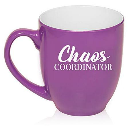 16 oz Large Bistro Mug Ceramic Coffee Tea Glass Cup Chaos Coordinator Mom Mother Teacher