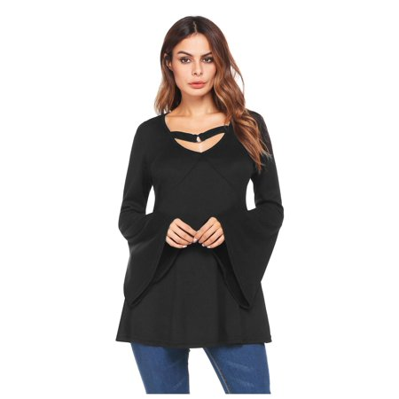 Women V-Neck Flare Sleeve Cut Out Front Solid Casual Loose Tunic Top HFON Casual Solid Cut Out