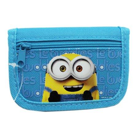 Minions Light Blue Colored Fabric Tri-Fold Wallet