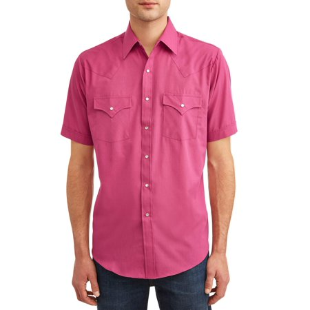 Gear Western Shirt - Plains Men's Short Sleeve Solid Western Shirt, up to Size 4XL