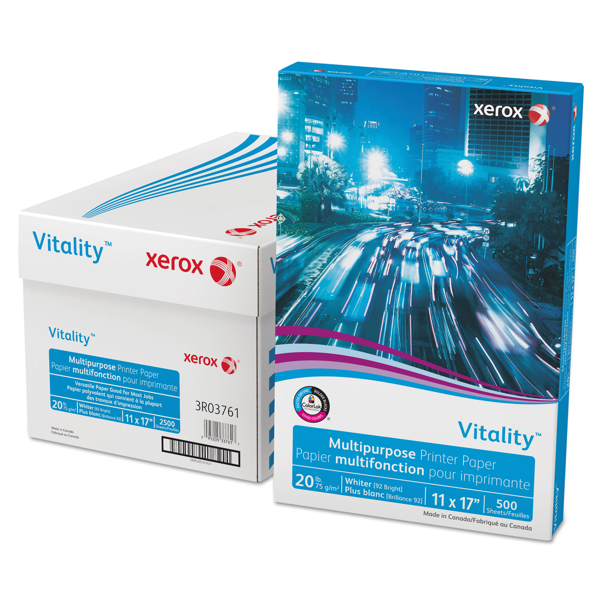 Xerox Vitality Multipurpose Printer Paper, 11 x 17, White, 500 Sheets/RM -XER3R03761