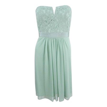 Adrianna Papell Women's Strapless Lace Dress Lace Jacket & Gathered Dress
