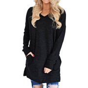 Women V-Neck Long Sleeves Pure Color Pocket Sweatshirt