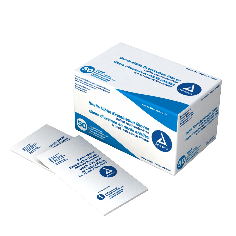 Dynarex Sterile Nitrile Exam Gloves - Pairs Large    1 Case