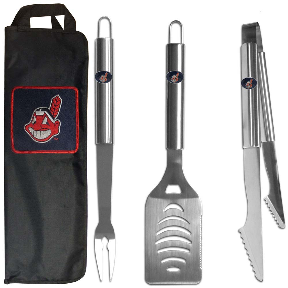 Cleveland Indians 3 pc Stainless Steel BBQ Set with Bag