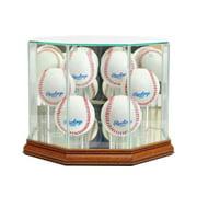 Perfect Cases 6BSB-W Octagon 6 Baseball Display Case, Walnut