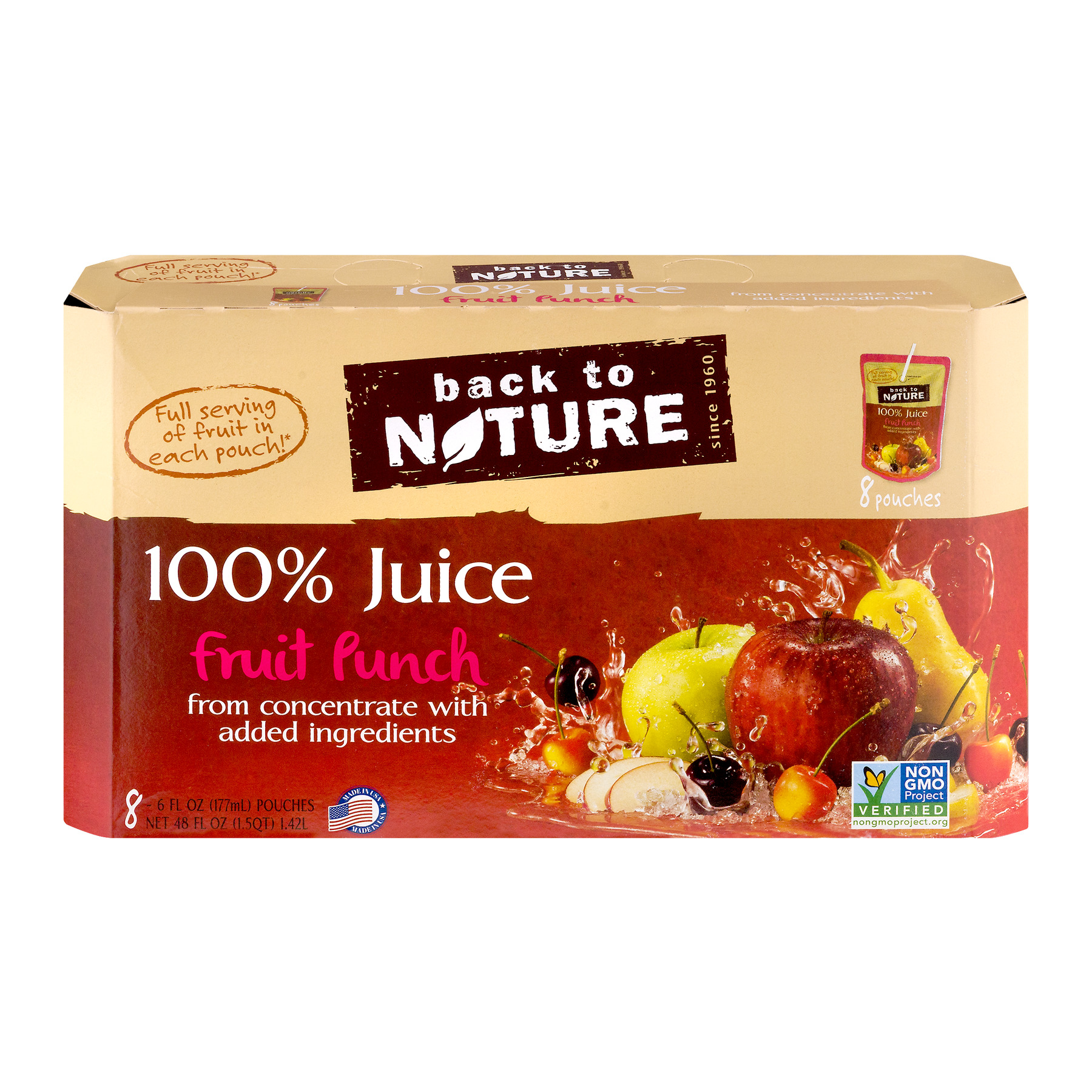Back to Nature 100% Juice, Fruit Punch, 6 Fl Oz, 8 Count