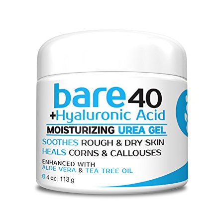 Bare Urea 40% Percent Plus Hyaluronic Acid Gel for Hands, Feet, Elbows and Knees - Corn & Callus Remover - Skin Exfoliator & Moisturizer - Repairs Thick, Callused Dead & Dry