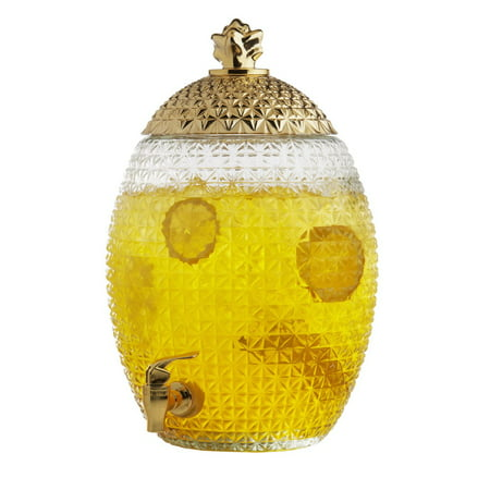 Large Dispensers (Brilliant - Large Pineapple Glass Beverage Dispenser with Gold Lid and Spout, 10)
