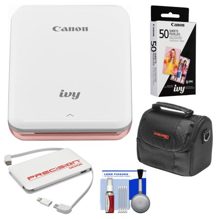 Canon IVY Wireless Bluetooth Mini Photo Printer (Rose Gold) with 50 ZINK Photo Paper Pack + Case + Charger + (Gold Pointer)