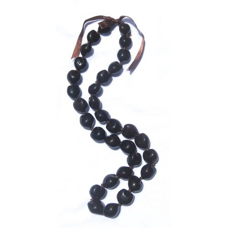 Hawaiian Lei Necklace of Dark Brown Kukui Nuts ()