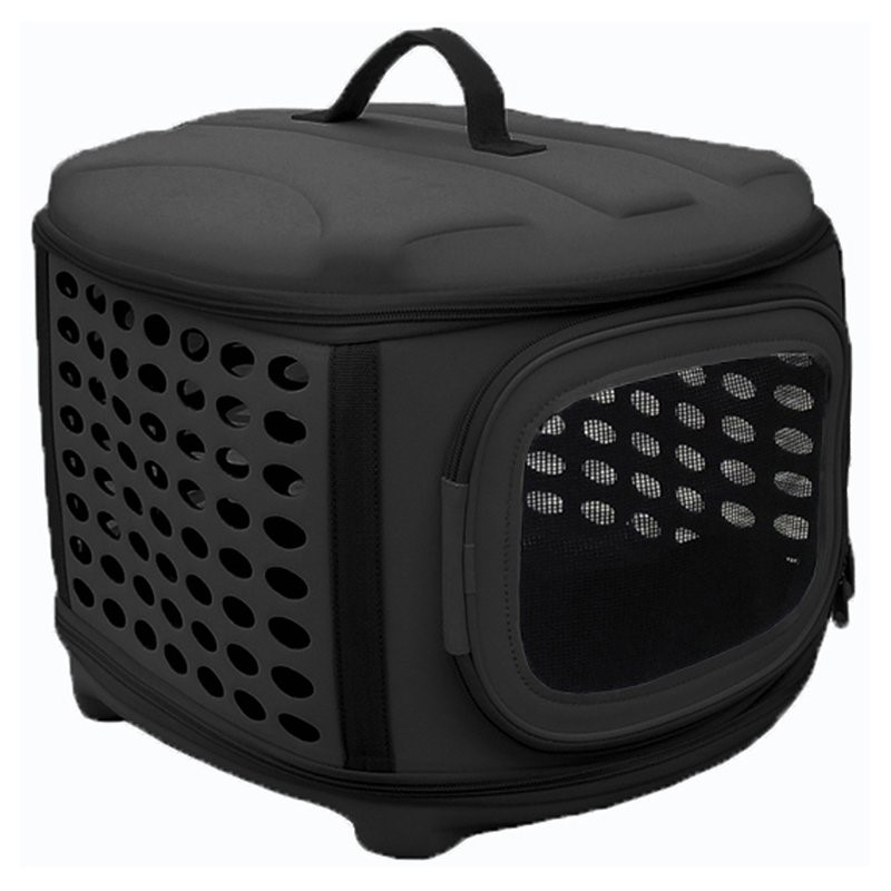 Circular Shelled Perforate Lightweight Collapsible Military Grade Transporter Pet Carrier by Pet Life