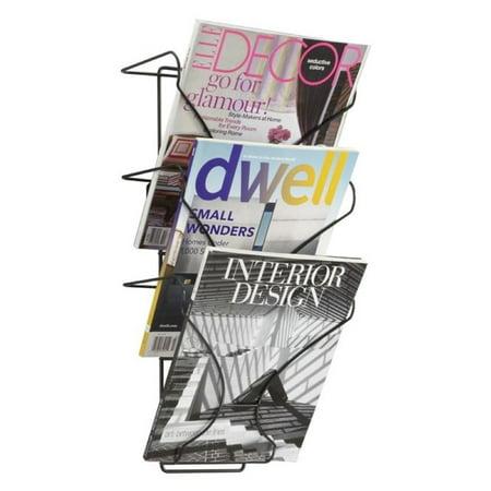 Overlapping Magazine Display - Pemberly Row 3 Pocket Wall Display Magazine Rack in Black