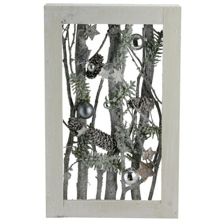 """14.25"""" Decorated Standing Birch Branches in Wood Frame Table or Wall Decoration - image 2 de 2"""