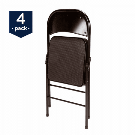 Mainstays Padded (4-Pack) Fabric Folding Chair in Black - Padded Folding Chair