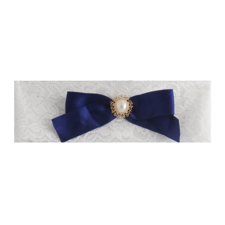 Vintage Wedding Bride Lace Garter with Navy Bow (Plus Size)
