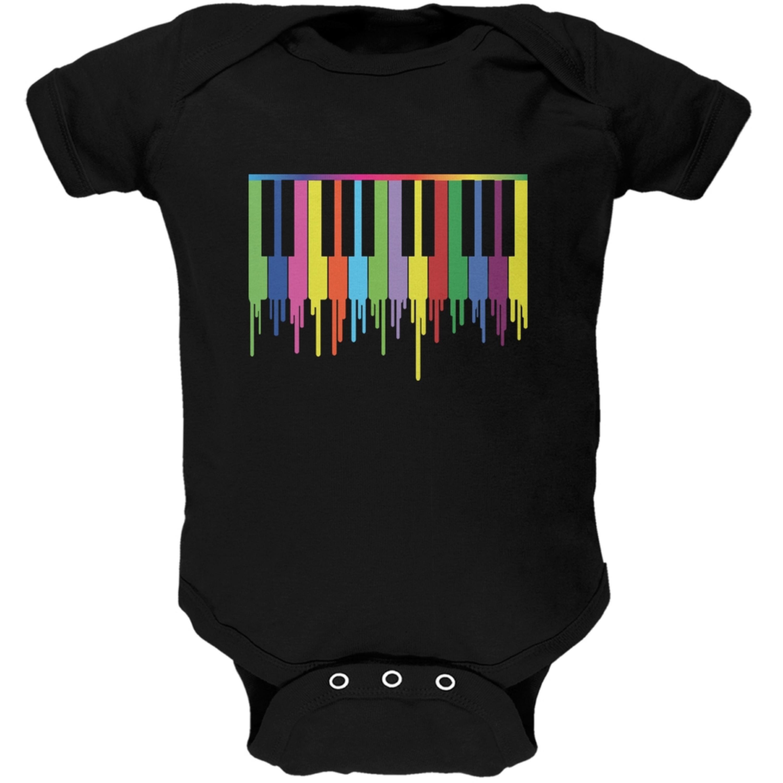 Piano Keys Black Soft Baby One Piece