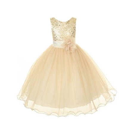 Kids Dream Big Girls Gold Sequin Bodice Floral Overlaid Flower Girl Dress 8