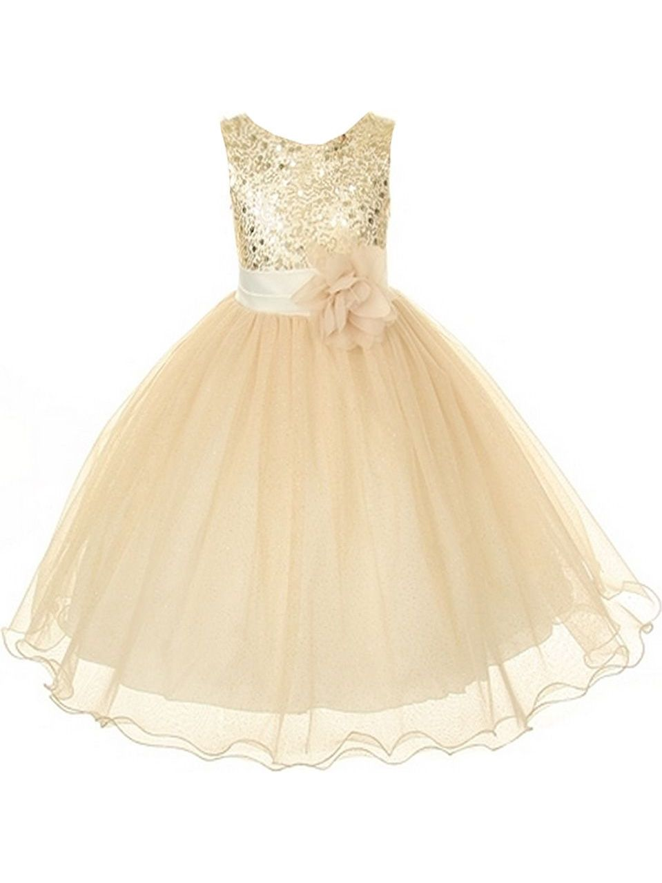Kids Dream Big Girls Gold Sequin Bodice Floral Overlaid Flower Girl Dress 8
