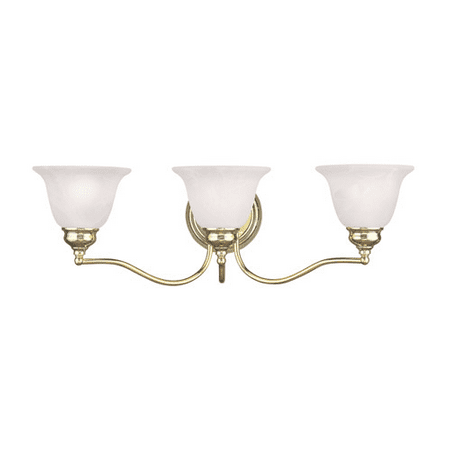 Bathroom Vanity 3 Light With White Alabaster Glass Polished Brass size 24 in 300 Watts - World of Crystal