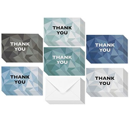 48 Pack Thank You Greeting Cards Bulk Box Set, Blank on the Inside, 6 Stained Glass Pattern Designs, Blue and Grey, Envelopes