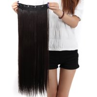 "FLORATA Trendy 30""Long Straight 3/4 Full Head Clip in Synthetic Hair Extensions One Piece 5 Clips 130g 15 Colors"