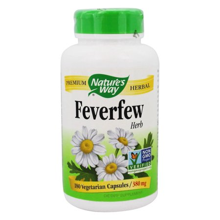 Natures Way Feverfew TRU-ID Certified Non-GMO Vegetarian 380 mg 180 Ct
