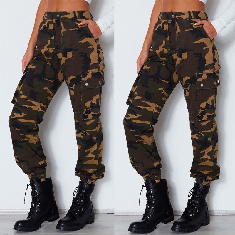 Sexy Womens Camo Cargo Trousers Casual Pants Military Army Combat Camouflage Jeans